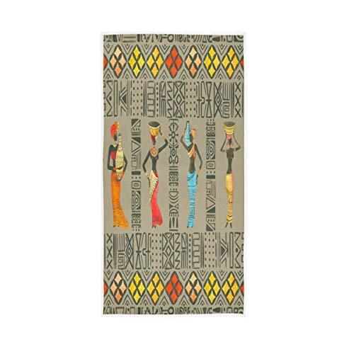F17 Toalla étnica tribal africana mujeres 30 x 15 pulgadas toalla de mano para el hogar, cocina, baño, gimnasio, natación, spa