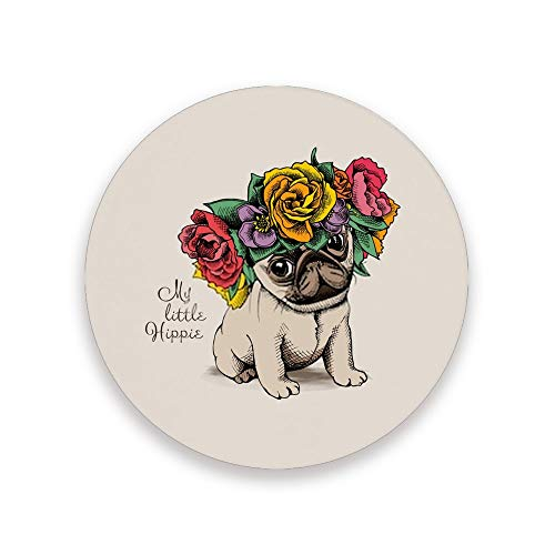 ZHIMI Coasters Cute Dog With Flower Absorbent Stone Coasters Round Drink Ceramic Coasters Set with Non-slip Cork Base Kitchen Decor for Mugs Cups Holders Mats 1 Pack