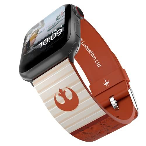 Star Wars - Correa para reloj inteligente Rebel Classic - Licencia oficial, compatible con Apple Watch (no incluido) - Se adapta a 38 mm, 40 mm, 42 mm y 44 mm