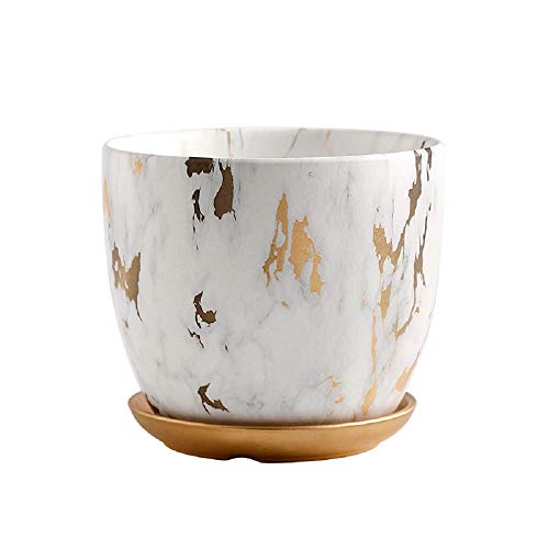 Orchid Pot 6 Inch Ceramic Plant Flower Pots with Holes and Saucer Modern Marble White Gold Planter Container for Home Decoration Indoor Outdoor