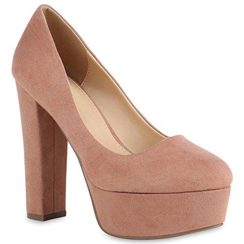 Damen Schuhe Plateau Pumps Veloursleder-Optik High Heels Blockabsatz 154285 Khaki Brooklyn 41 Flandell