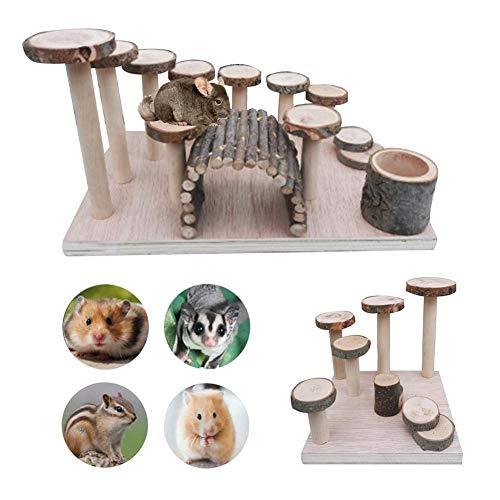 Hamster Toy Ladder, Wand Holz Fitness Übung Pet Feeder Kleine Treppe Schritt, Apfel Hängematte Spielplatz Holzmolaren Natürliche Hanteln Kauspielzeug, Plattform-Set Für Hamster Mäuse Papageien Leben