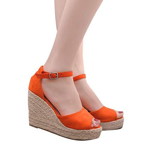 2019 Verano Sandalias Romanas Mujer, Zapato Peep-Toe Con Plataforma Cuña Alpargatas Zapatillas De Boda Fiesta Sandalias De Vestir De Talla Grande 33-44 EU(Naranja, 37 EU)