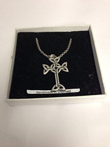 Collar con cruz de árbol celta de la vida CIC, peltre inglés sobre un chapado en platino, 45,7 cm