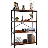 3 Shelf Bookcase, Bookshelf Industrial Style Metal and Wood Bookshelves, Open Wide Home Office Book Shelf