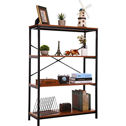 3 Shelf Bookcase, Bookshelf Industrial Style Metal and Wood Bookshelves, Open Wide Home Office Book Shelf