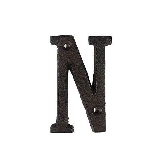 3°Amy Hausnummern Von A bis Z, 0 bis 9 Metall Buchstaben & Zahlen Gusseisen Dekoration Haus Zeichen Türschild DIY-Kaffee-Wand 8cm Schmiedeeisen Buchstabezeichen #a (Color : N)