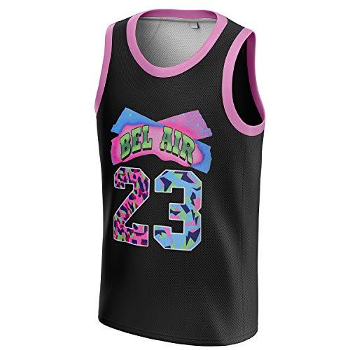 MOLPE Bel-Air 23 Camiseta de baloncesto estampada para hombres y mujeres, unisex 90S Hip Hop Tank para fiesta, Negro, Medium