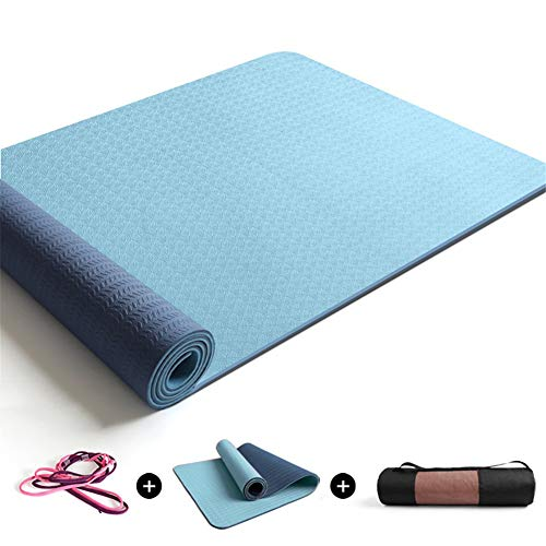 DMYJ Color sólido Yoga Mat 6mm Cómodo y Duradero Fitness Mat Antideslizante con Correas Esterilla Deporte Grande Fácil de Limpiar Fácil de almacenarE-183x68x0.8cm