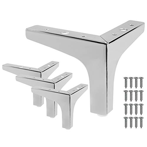 Seimneire 4pcs 5.3 Inch Furniture Legs, Modern Style Furniture Sofa Legs Metal Polished Chrome Triangle Feet for Table Cabinet Cupboard Sofa Couch Chair