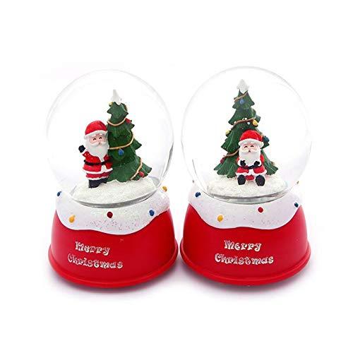 Mmjjshdp Weihnachtliche Schneekugeln 2Pcs Santa Kristallkugel Spieluhr Schneekugel Musik Beleuchtung Glaskugel Weihnachtsfeier Dekorationen Kinder Geschenke (rot1)