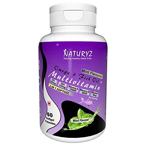 Naturyz Omega 3 Fish Oil With Multivitamin, Vitamin A, D3, E, K2 for Immunity, Brain, Eye & Heart Health, Mint Flavour, 60 Mini Softgels