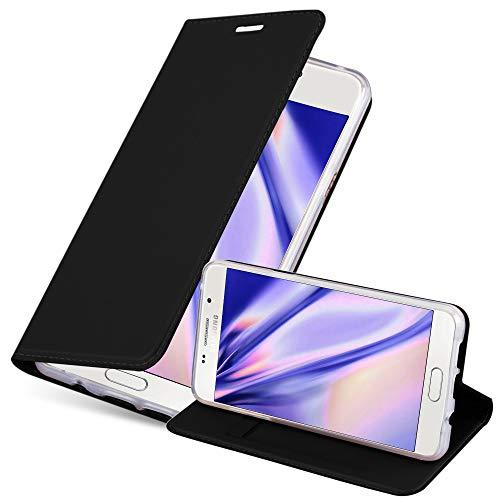 Cadorabo Hülle für Samsung Galaxy A3 2016 (6) - Hülle in SCHWARZ – Handyhülle mit Standfunktion und Kartenfach im Metallic Look - Case Cover Schutzhülle Etui Tasche Book Klapp Style