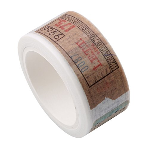 Chinget Vintage Washi Tape Dekoband Masking Tape Klebeband DIY Craft Dekorative Scrapbooking Geschenkpapier, Lange 8M (Retro Ticket Stil)