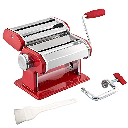 bremermann Máquina de Pasta para Espaguetis, Pasta y lasaña (7 Niveles), máquina de Pasta, Hacedor de Pasta (Rojo)