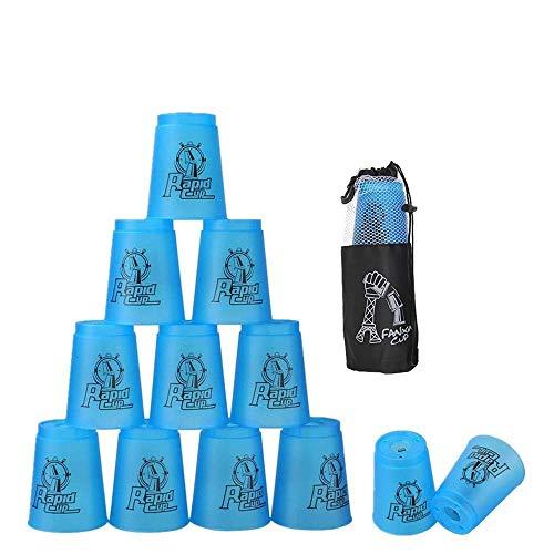 Stapelbecher 12 Stück, Sportbecher für Training, Spiel, Schnelligkeit, Herausforderung, Wettkampf, Party (blau)