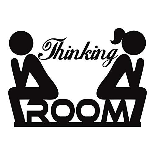 Folistick Thinking Room WC Aufkleber Türaufkleber Badezimmer Toiletten Wandtattoo (SCHWARZ)