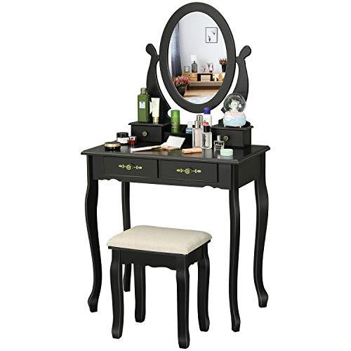 EPHEX Schminktisch mit Spiegel und Hocker, Kosmetiktisch mit Schubladen und Kosmetik Aufbewahrung Organizer, Frisiertisch Make-up Tisch Schminktisch-Set, Schwarz, 75 x 40 cm