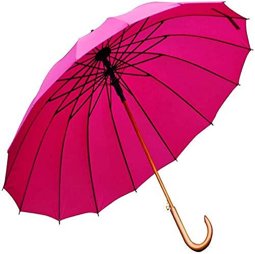 Paraguas portátil J-Handle Paraguas de madera, UV y versiones clásicas, paraguas de palo a prueba de viento grandes, Auto abierto para hombres y mujeres paraguas (color: rosa) Paraguas de viaje compac