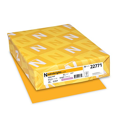 Neenah Wausau Paper Astrobrights Colored Card Stock, 65 lb, Letter, Galaxy Gold, 250 Sheets per Pack (22771)
