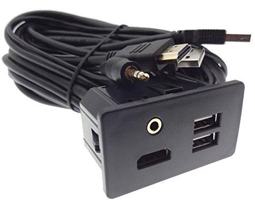 Einbaubuchse HDMI AUX Doppel USB 1,8m Verlängerung Adapter Kabel Stecker Klinke