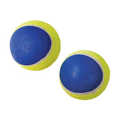 KONG - Squeakair Ultra Balls - Pelotas de Tenis sonoras Que respetan Sus Dientes - para Perros de Raza Mediana (Pack de 3)