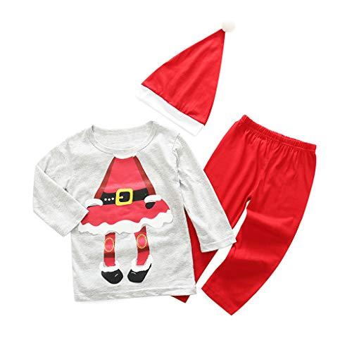 FELZ Ropa Bebé Niña Invierno 3 PCs, Navidad Conjuntos Bebe Niño Niña Invierno Baratos Recién Nacido 6 Meses a 4 Años Camiseta De Dibujos Animados De Navidad Pantalones Y Sombrero