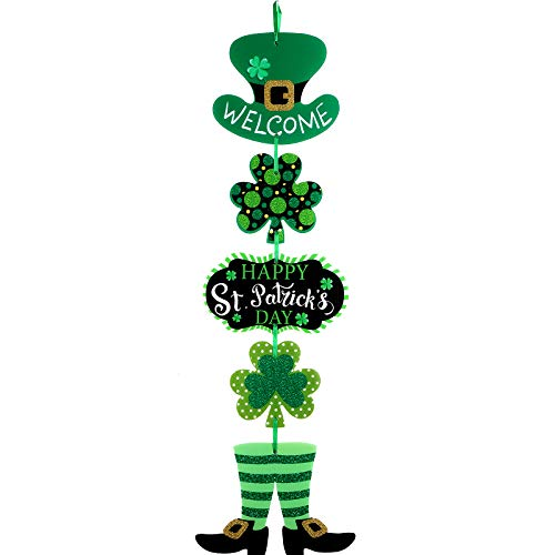 St. Patrick's Day Door Sign St. Patrick's Day Themed Hanging Welcome Sign Irish Hanging Door Decor with Shamrock Leprechaun High Hat and Feet Wall Sign Ornament for St. Patrick's Day Decoration