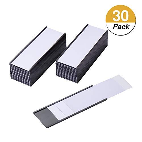 EEOYU 30 Stück Magnetische Etikettenhalter mit Magneten Kartenhalter mit transparenten Kunststoffschutzfolien für Metallregal, Whiteboard 2 x 5.5 Inch