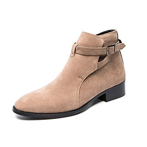 MADONG Men's Fashion Enkellaarsjes Casual Personality stikken Britse stijl High Top Boot (Color : Beige, Size : 43 EU)