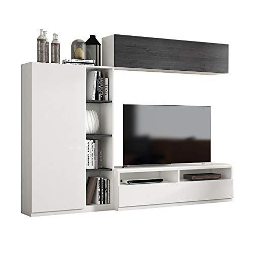 Tousmesmeubles Composition TV Bois Blanc/Bois Noir - Camelia n°3 - L 240 x l 45 x H 190 - Neuf