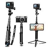 AuyKoo Palo Selfie Trípode para GoPro,Impermeable Aleación Aluminio Selfie Stick+Clip para Teléfono Accesorio GoPro Hero 10 9 8 7 6,SJCAM,Sony,Insta360,DJI OSMO,Xiaomi Yi,AKASO,SARGO,iPhone,Samsung
