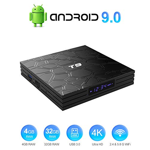 T9 Android 9.0 TV Box Smart Media Box 4GB RAM 32GB ROM RK3318 Quad Core Support Bluetooth 4.0 WiFi 2.4G & 5.8G H.265 4K 3D 100M Ethernet Smart Android 9.0 TV Box