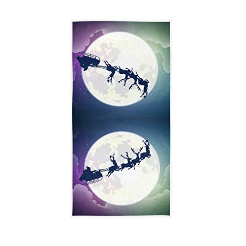 Mr.Brilliant 1 Pack Reindeer Santa Claus Hand Towel Moon Night View Decorative Towel Soft Quick Dry for Bathroom, Swimming, Gym 30 x 15 inch 2060010