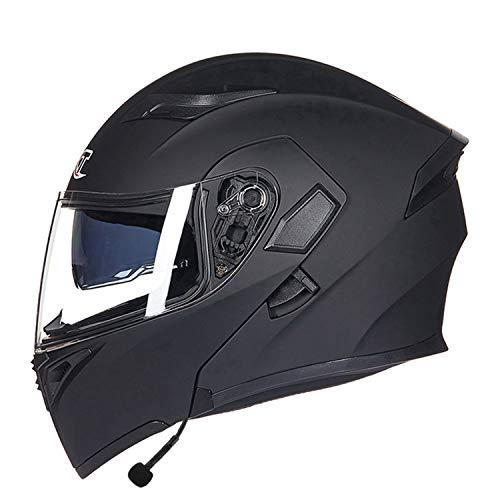 Bluetooth Motorcycle Helmet,DOT/ECE Approved Flip Up Front Modular Helmet Auto Answer Voice Navigation Lightweight Breathable Motorbike Helmet,1,L58to59cm