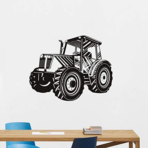 Calcomanía de pared de transporte de tractor de conducción extraíble autoadhesivo decoración del hogar pegatina de pared coche ahuecado A6 70x59cm
