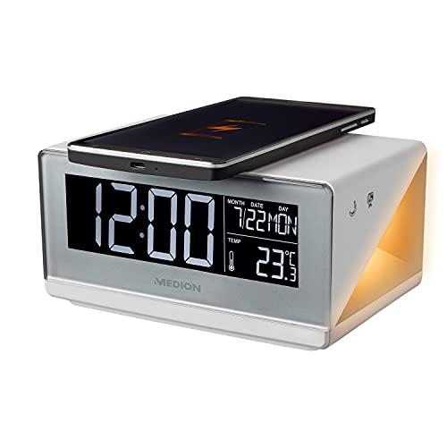 MEDION E75009 Wecker mit Qi Ladefunktion (Weckstation, Ladestation, induktives Laden, Temperaturanzeige, Snooze Schlummerfunktion, Timer, Displaydimmer) Silber