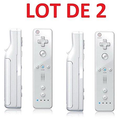 2 X Télécommande Wiimote pour Nintendo Wii et Wii U - Blanc