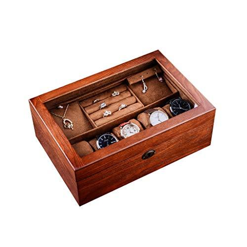 KHUY Relojero Hombre Organizador, Caja para Relojes Hombre Personalizadas Estuche Relojes Mujer Viaje Premium 5 Slot Relojero Watch Holder Organizer con Tapa de Vidrio