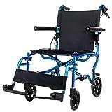 Y-L Rollstuhl, Tragbarer Rollstuhl Faltbar, Der Ältere Rollstuhl Ist Leichte Mobile Geräte, Geeignet für Menschen mit Behinderungen und Ältere Menschen, Blau, Blau -