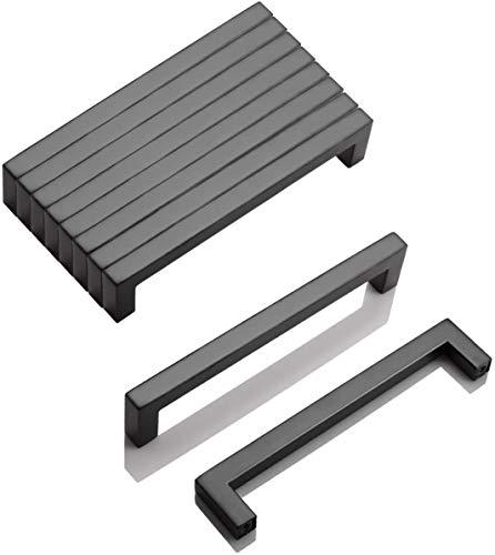 10 tiradores de barra en T de 160 mm, agujero de perforación de acero inoxidable, color negro, 160 mm