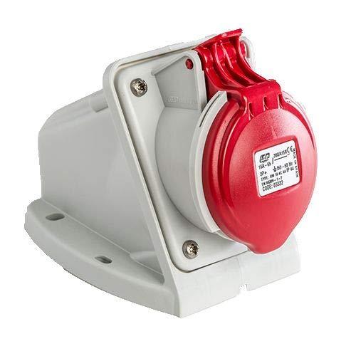 Base enchufe industrial hembra 3P+T 380V IP44 superficie Rojo (16A)