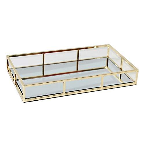 JenLn Tray spiegel, decoratieve organizer, vintage goud spiegelglas metaal versierd tray sieraden parfum organizer