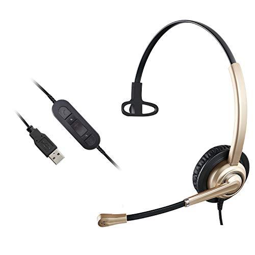 Auriculares USB con micrófono Cancelación de ruido, control de volumen y silencio de micrófono, auriculares de ordenador para centro de llamadas y conferencias en línea Super Light PC Auriculares