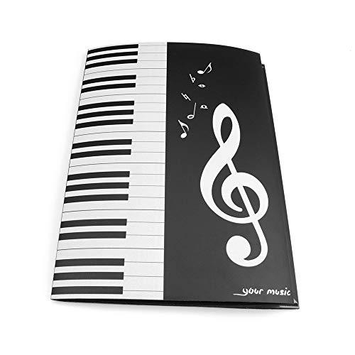 Entweg A4 Size Folder, Black Sheet Music Folder A4 Size Storage Holder Binder Für die Aufführung von Klavierinstrumenten auf der Bühne