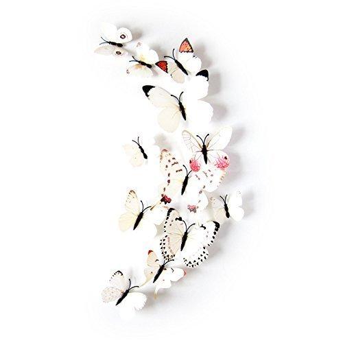 L-FENG-UK - Adhesivo Decorativo para Pared, diseño de Mariposa 3D, Color Blanco