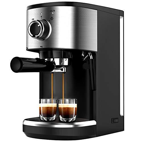 Bonsenkitchen Espressomaschine mit Siebträger, 1450W Hohe Leistung Edelstahl Kaffeemaschine, 15 Bar Siebträgermaschine für Espresso, Cappuccino und Latte Machiato, 1 oder 2 Tassen (1.25L)