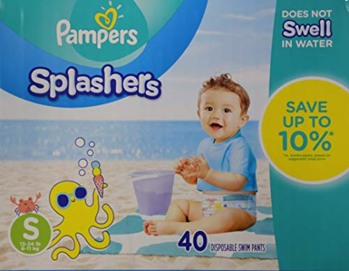 Swim Diapers Size 3 (13-24 lb) - Pampers Splashers Disposable Swim Pants, Small, Pack of 2 (Twinpack), 20 Count