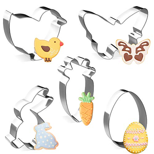 Joyoldelf Ausstechförmchen Ostern, Plätzchen Ausstecher Osterplätzchen,Oster Ausstechformen Biskuitform von Küken, Kaninchen, Karotten, Schmetterlinge, Eier (5PCS)
