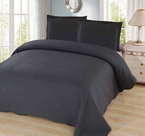 Sapphire Home 3 Piece Full/Queen Size Quilt Bedspread Coverlet Bedding Set w/2 Pillow Shams, Ultra Soft Pre-Washed Bed Cover, Quilted Pattern Solid Dark Gray Charcoal, Alexandra Q Charcoal/Gray